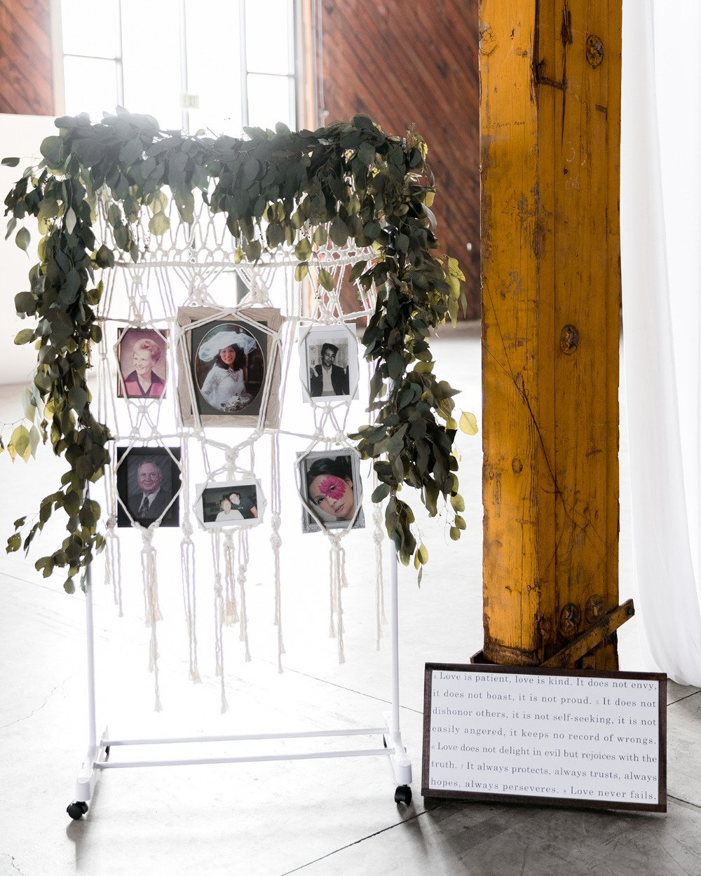 wedding decor with family photos
