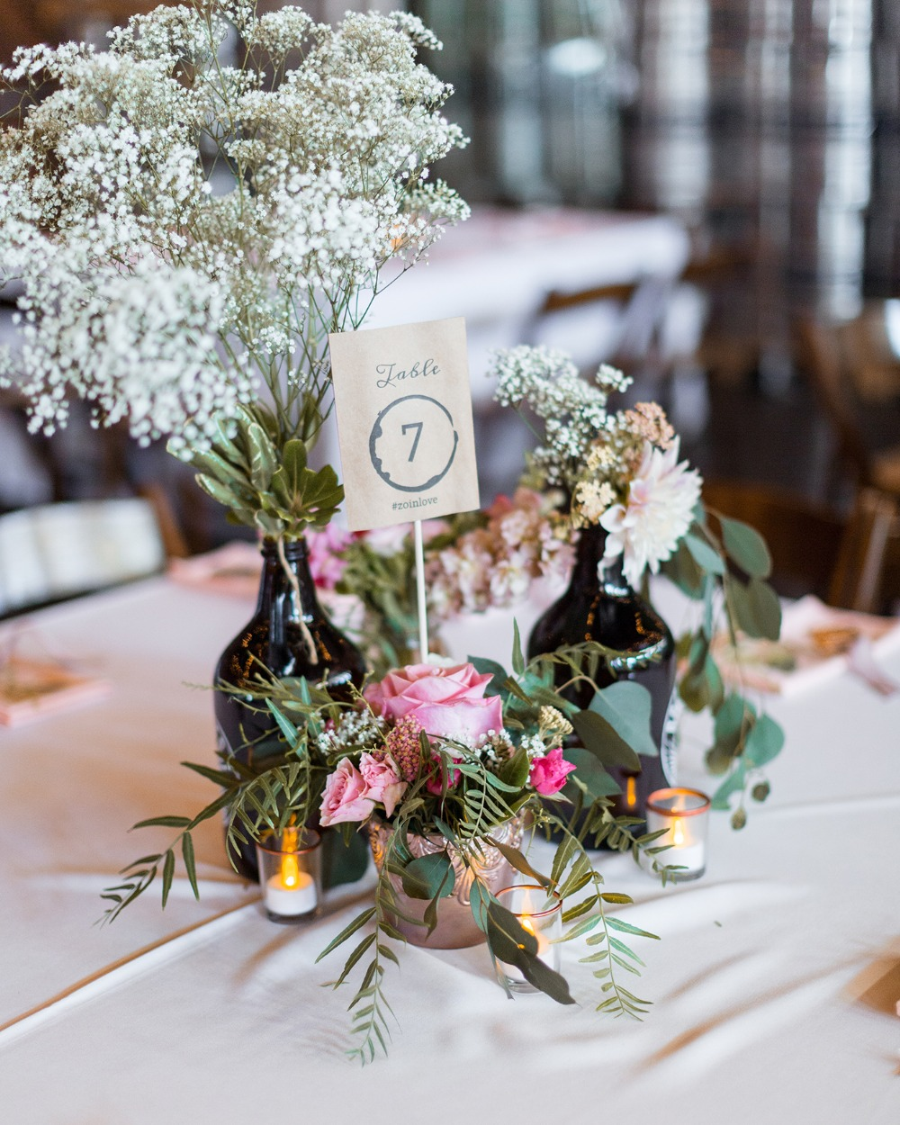 mismatched wedding centerpiece