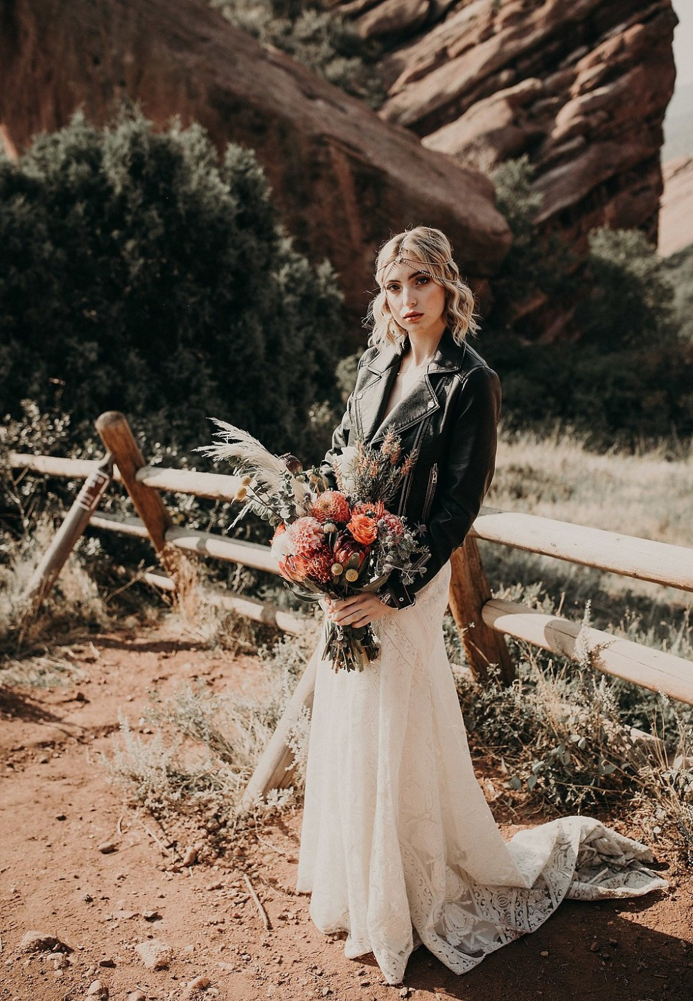 leather jacket wedding style with a boho flair