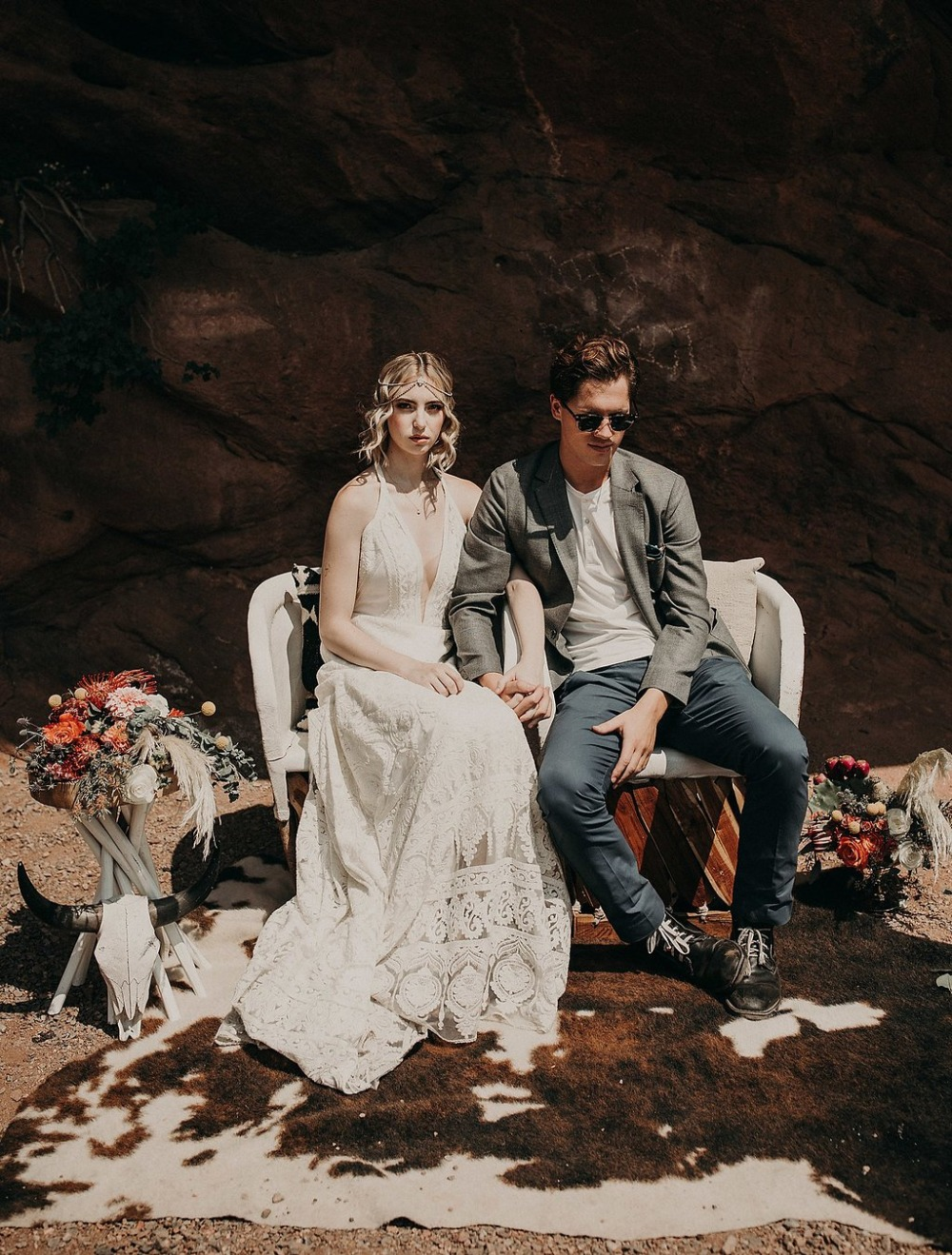 desert boho wedding couple