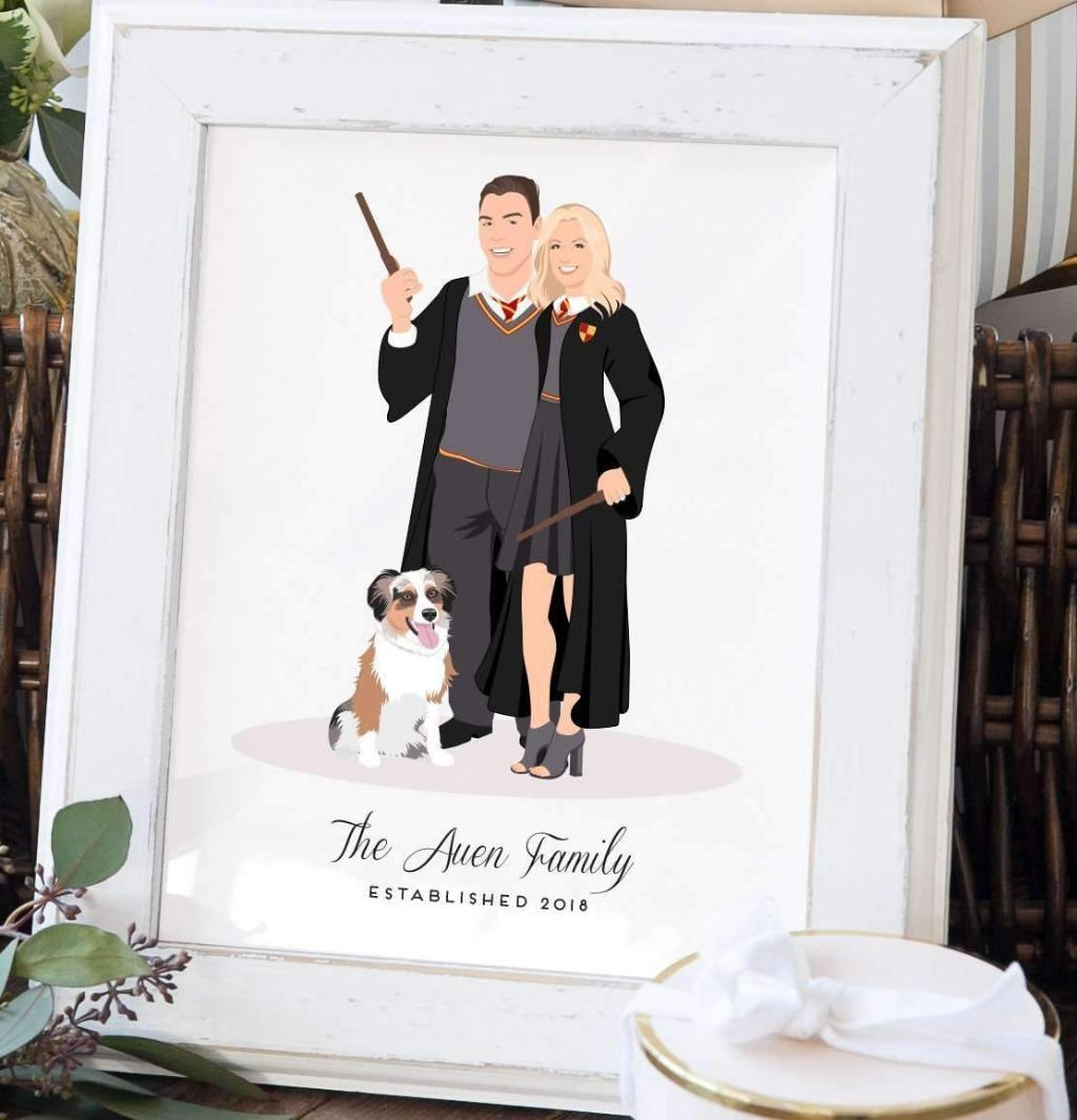 If you're on the hunt for an anniversary gift, this amazing Themed Couple Portrait Illustration Print from Miss Design Berry is perfect
