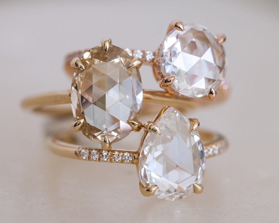Everett Round Pear and Oval Rose Cut Diamonds