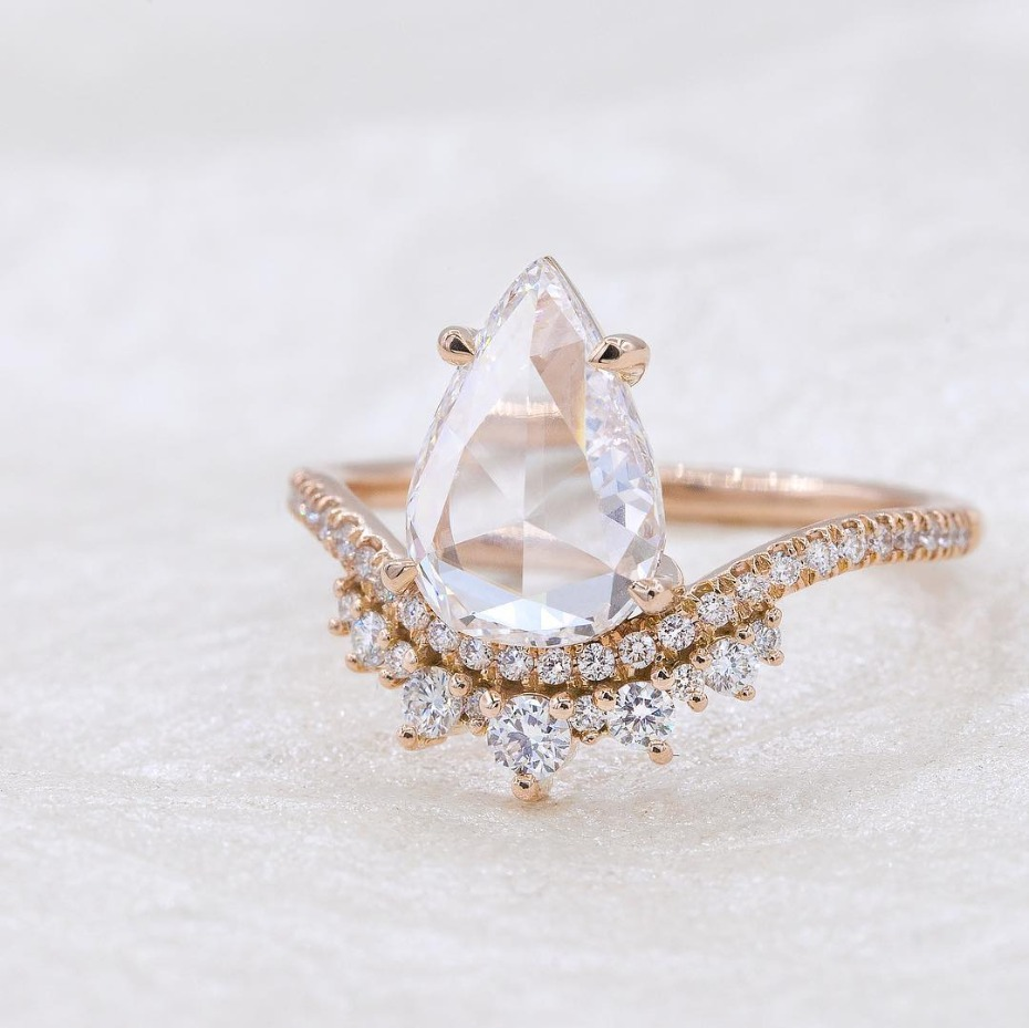Everett Rose Cut Pear Diamond Coronet Engagement Ring