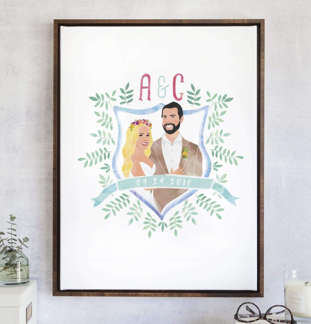 If you love the look of our watercolor guest books, but also want a couple portrait design, this Watercolor Wedding Crest Guest Book