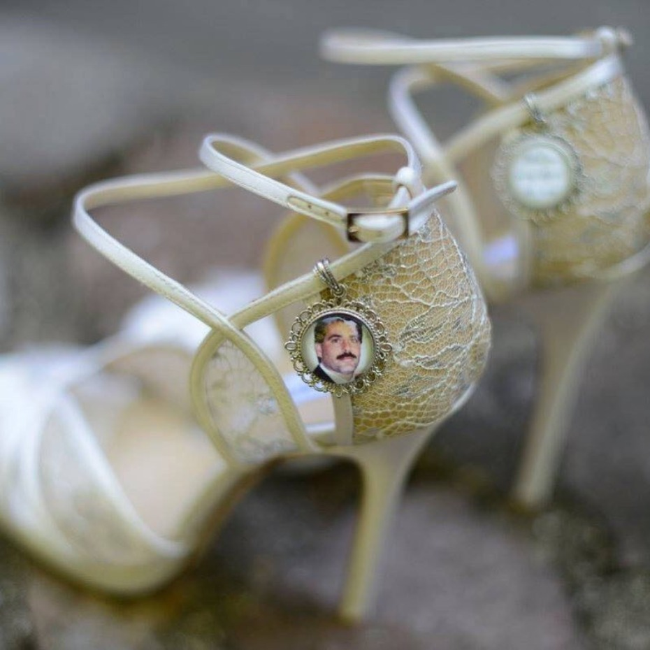 Wedding memorial shoe charms for the bride