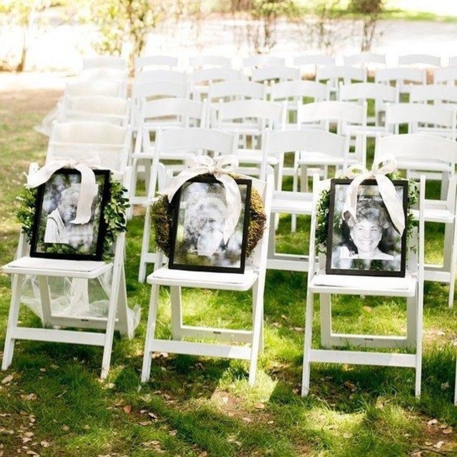 Honoring deceased family members in the front row of your wedding ceremony