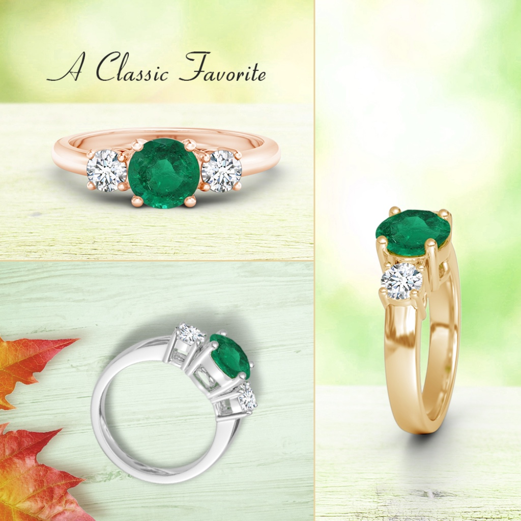 Perfect for anyone who likes the color of foliage, this is a timeless round emerald ring, flanked by shimmering diamonds. With a brilliant