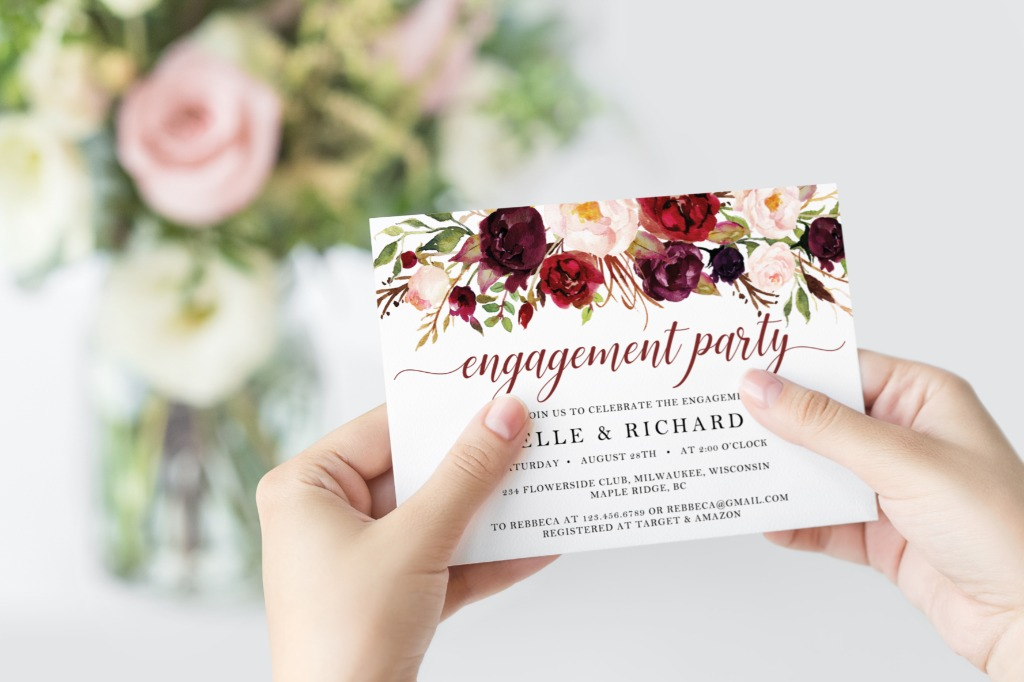 GORGEOUS MARSALA ENGAGEMENT PARTY INVITATION, features hand-painted watercolor burgundy and blush pink flowers and fresh greenery arrangement