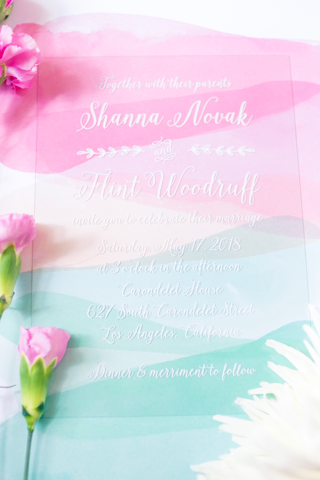 Colorfully clear! Clear Wedding Invitations allow you to put any twist on envelope choices, enclosure card styles, and wedding day