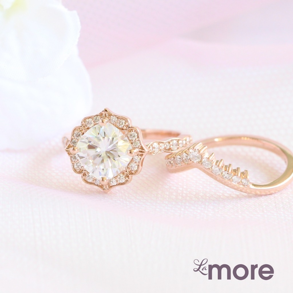 Vintage floral moissanite diamond engagement ring and curved diamond wedding band ~ by La More Design Jewelry