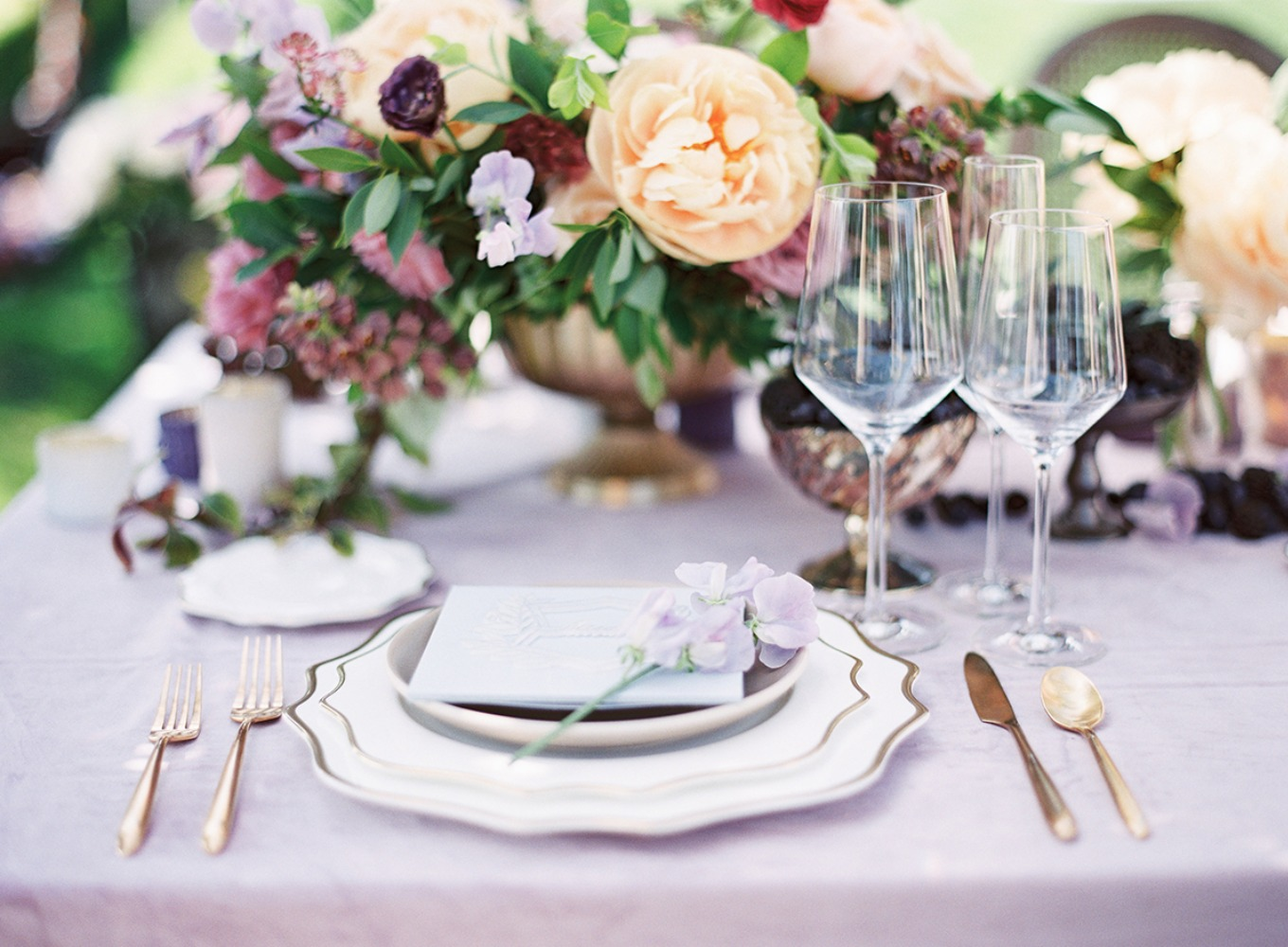 glam garden party place setting