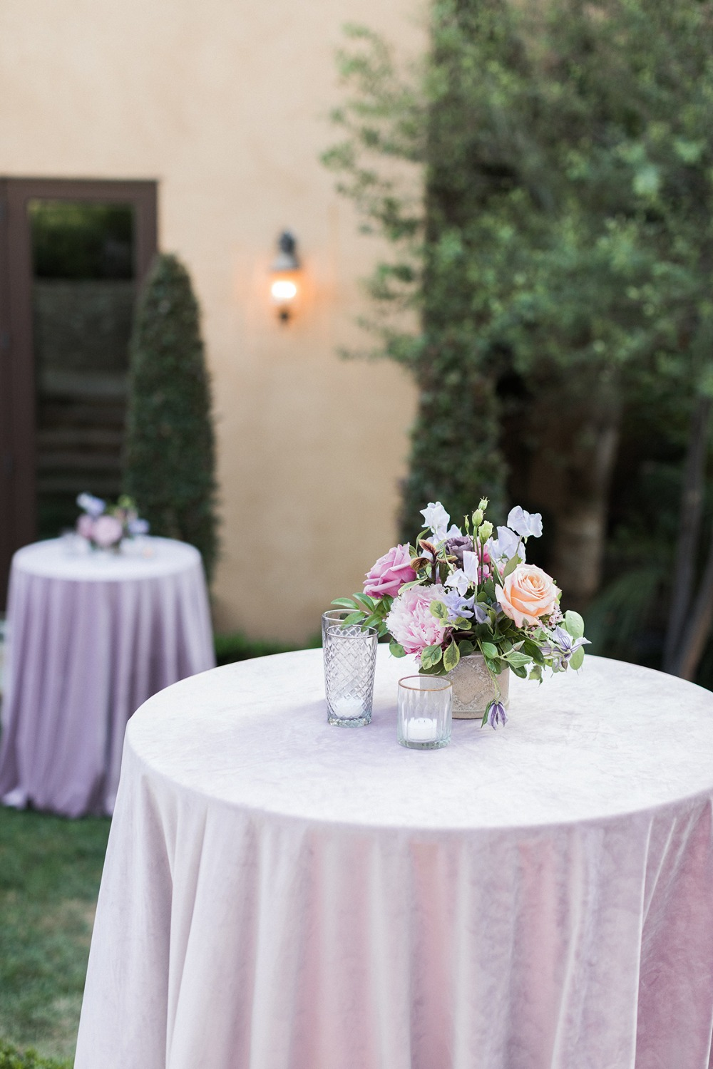 soft pink and lavender wedding cocktail tables