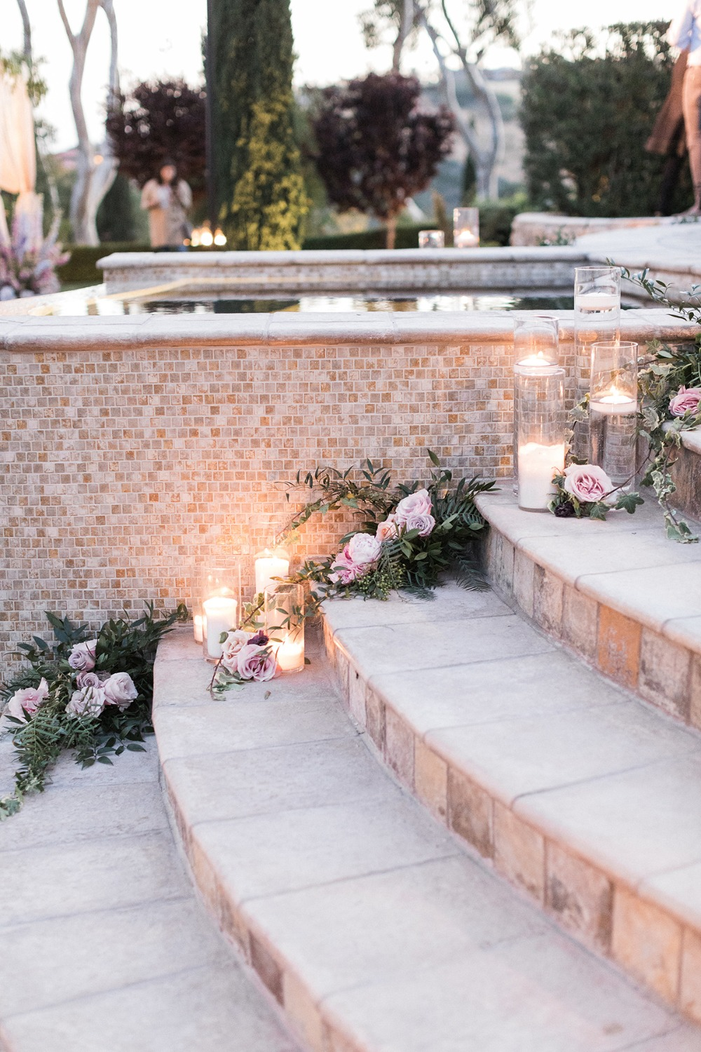 candle and floral wedding stairs decor