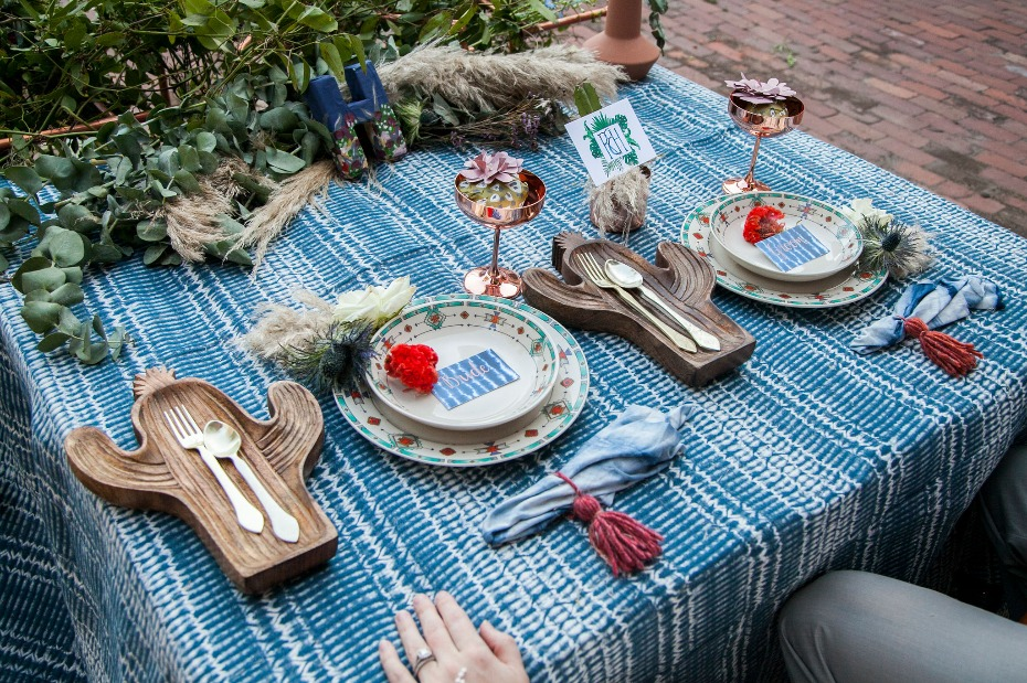 Boho wedding styled shoot tablescape