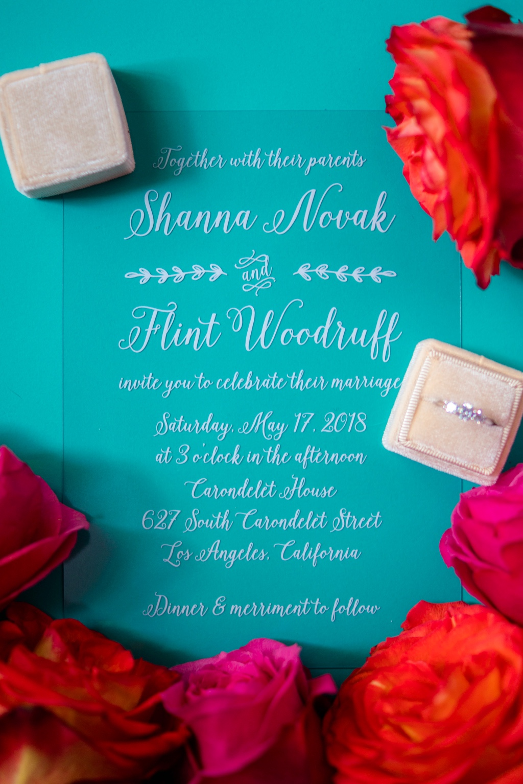 Clear cardstock printed with bright white ink make for innovative and creative wedding invitations sure to stand out!