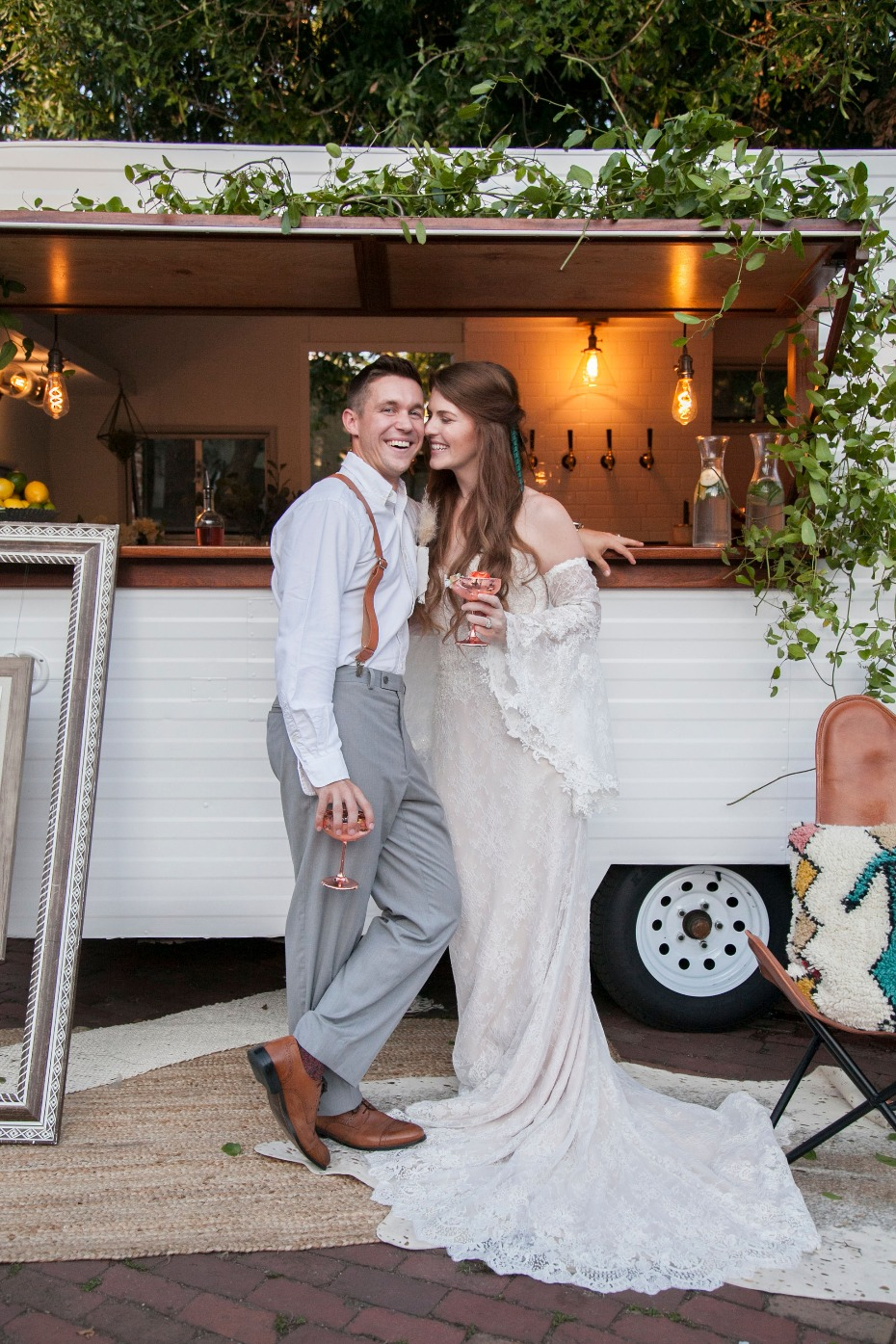 Boho wedding styled shoot vintage caravan bar