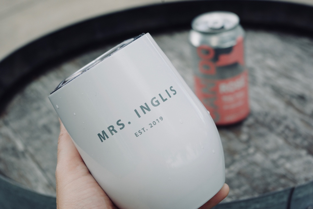 Dreaming of rose in my personalized just hitched mrs wine tumbler...it is so much classier drinking wine out of a stemless tumbler