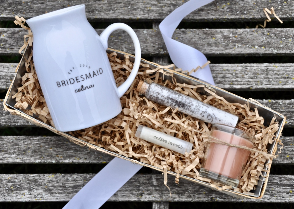 This bridesmaid thank you gift could not be more perfect for fall! Complete with a personalized coffee mug, signature bath salts,