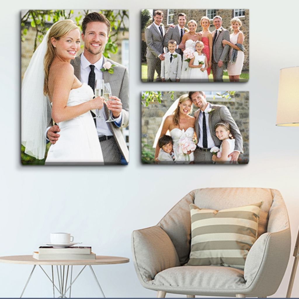 Create a wedding gallery wall at home to memorialize one of the biggest milestones of your life with museum quality canvas prints