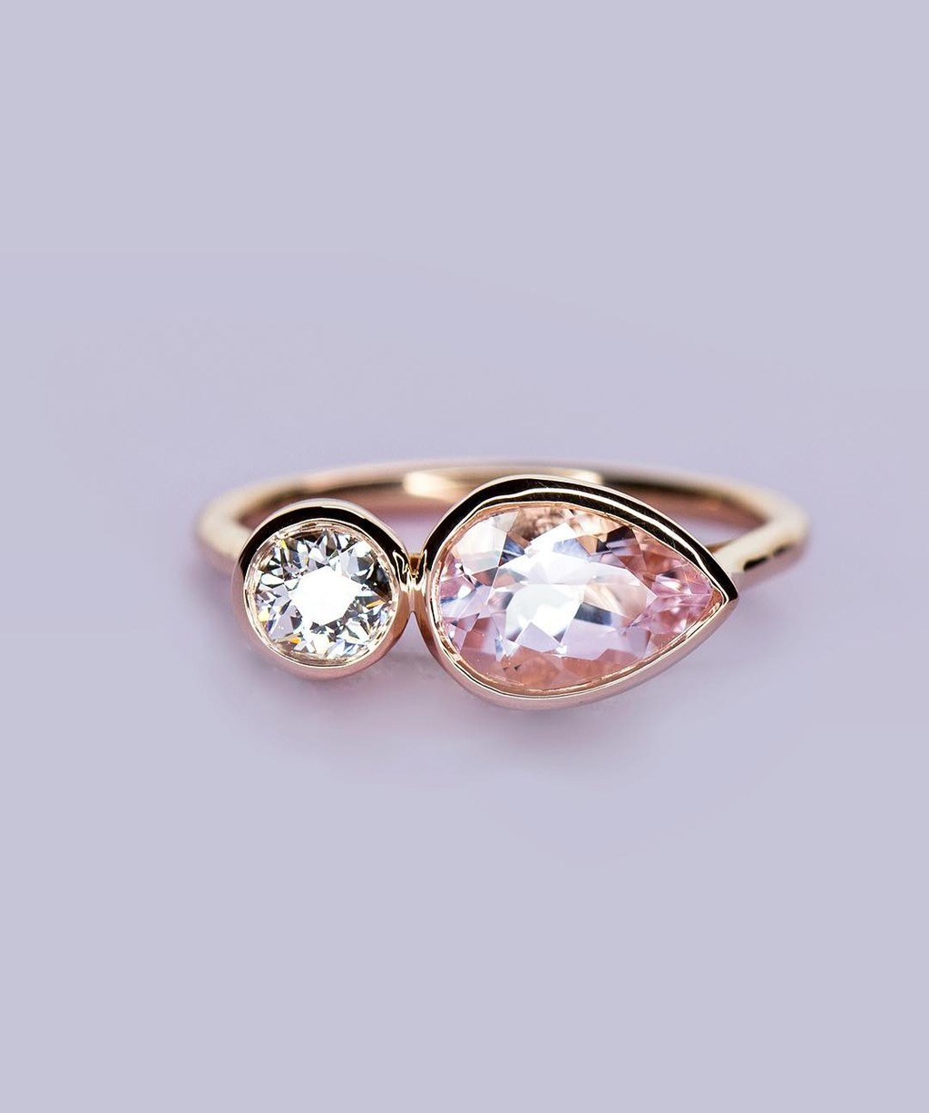 Antique Old European Cut Diamond + Fair-trade No-Heat Morganite = Toi et Moi Perfection!