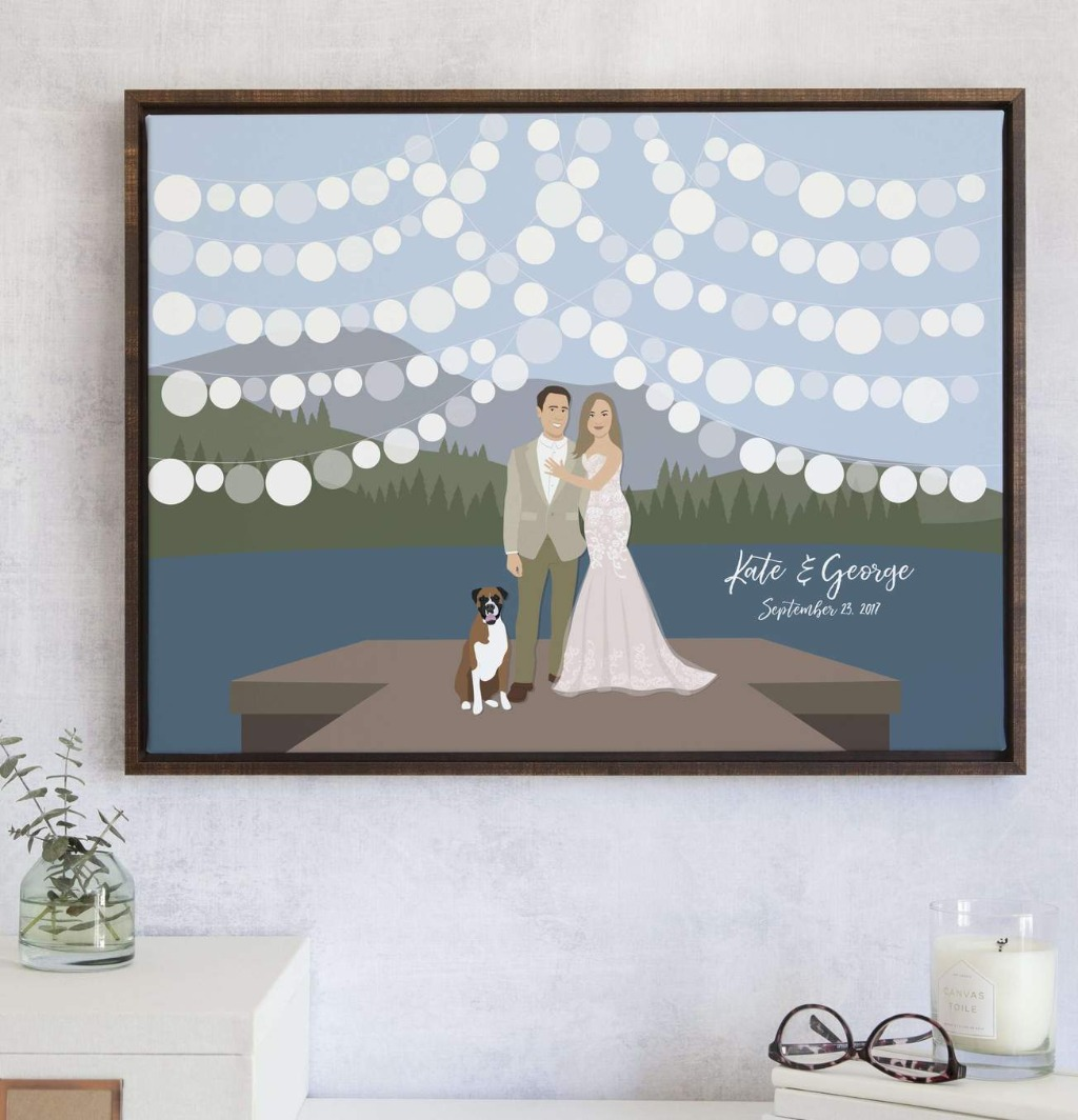 If your big day features a beautiful lake, this Lake Wedding Guest Book Alternative with Couple on Dock is perfect for you!! We'll