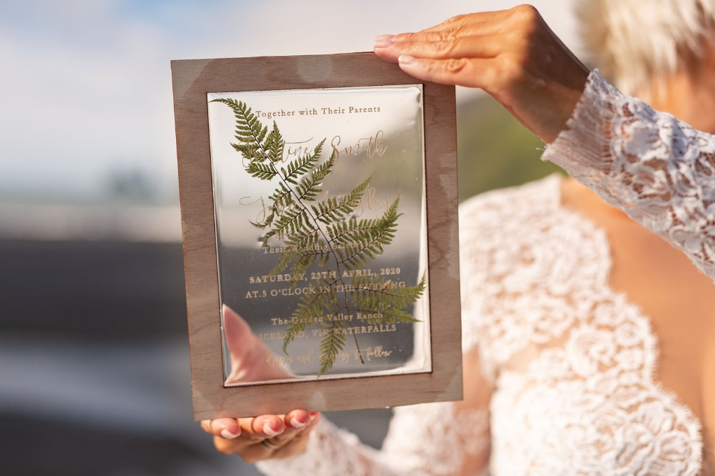 Wedding invitation with real fern