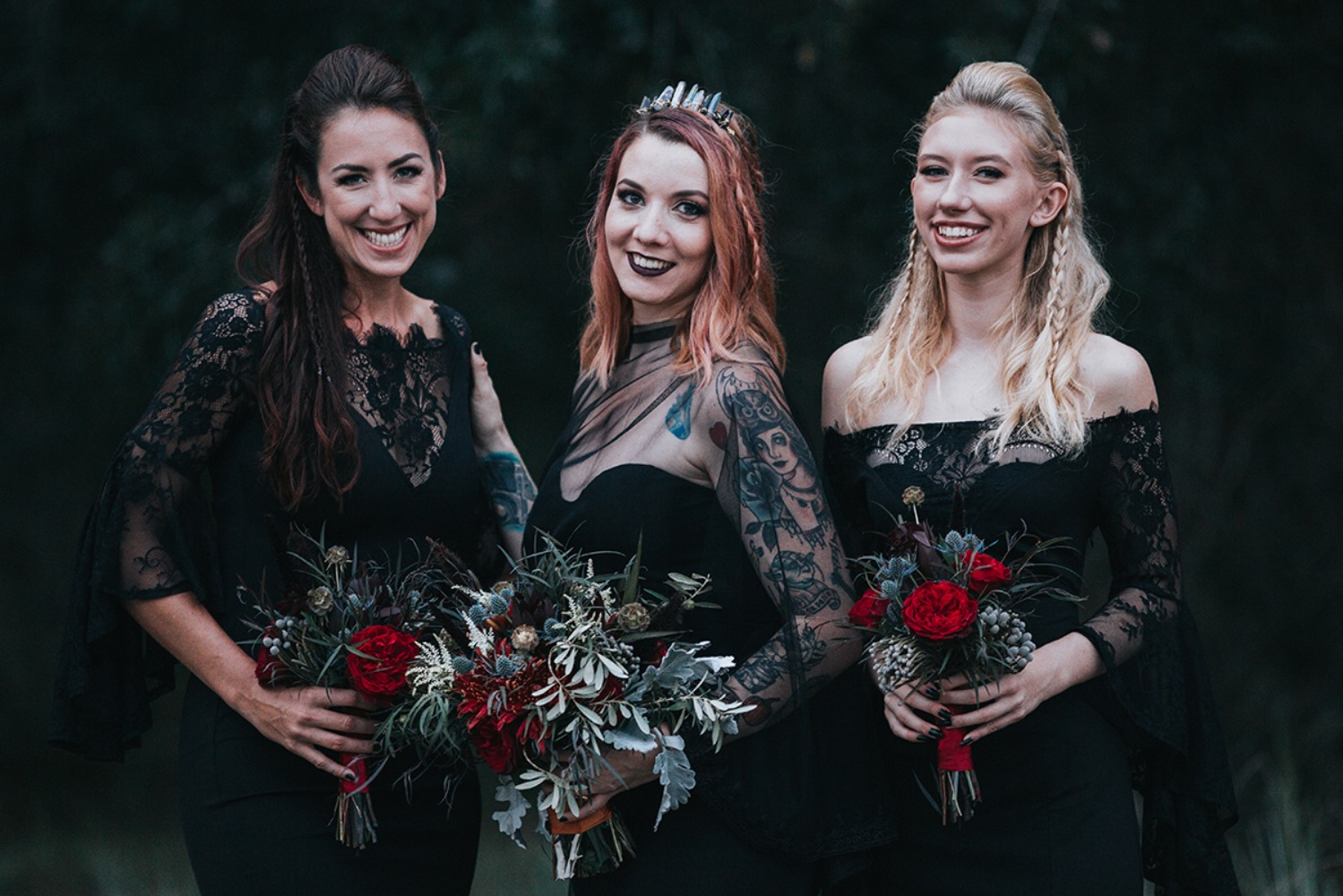 romantic black bridal party style