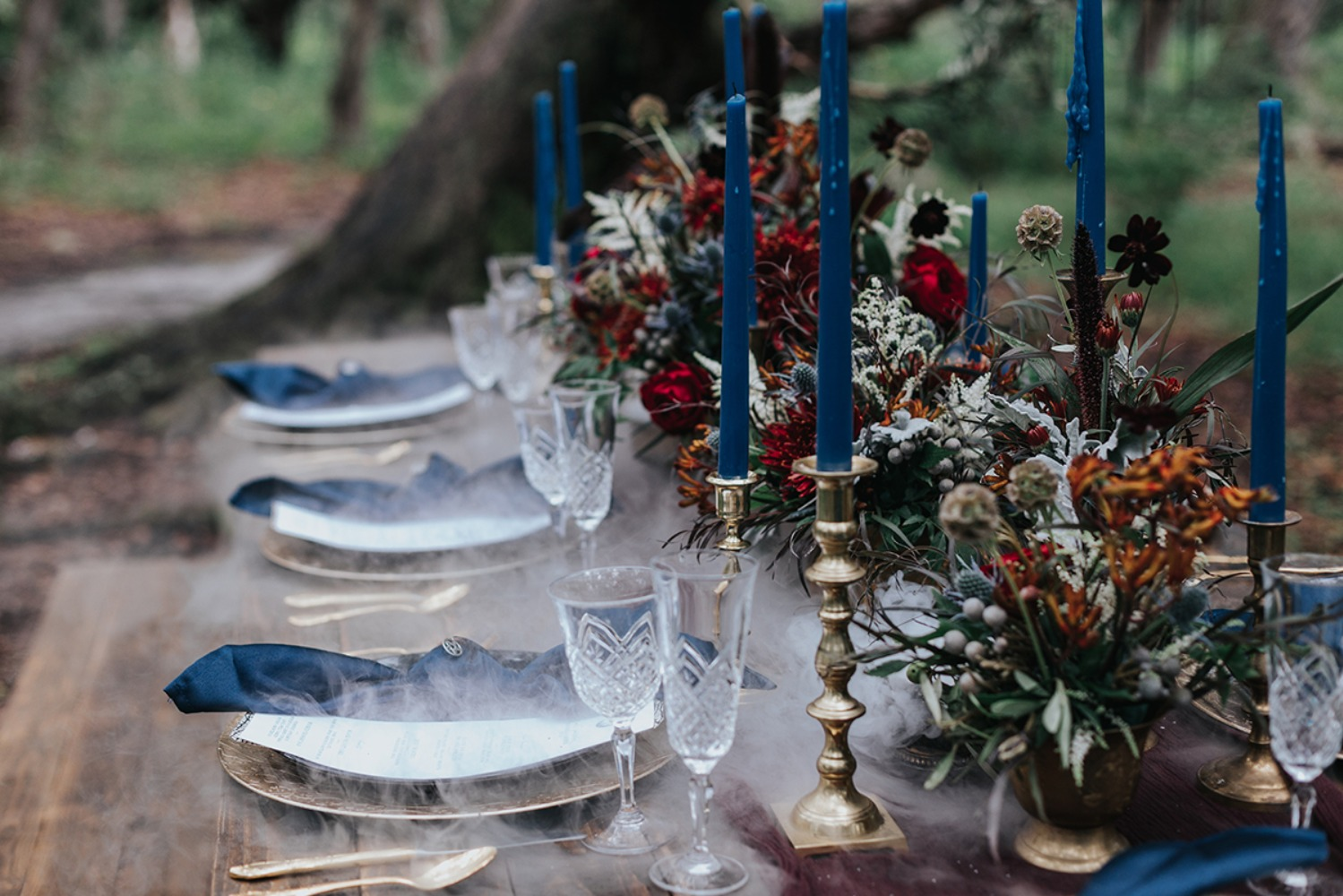 gold blue and fall inspired wedding table