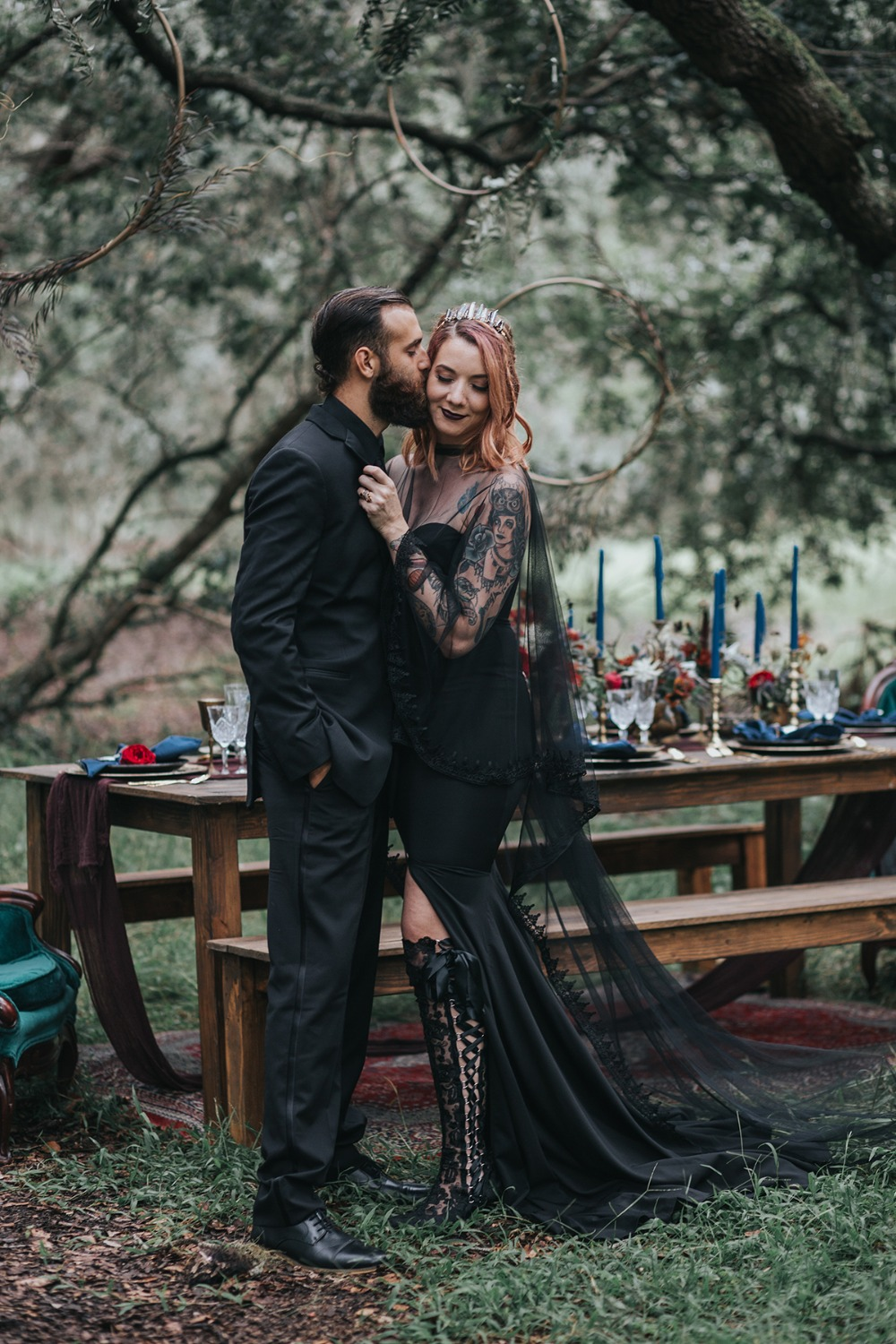 dark romance wedding couple