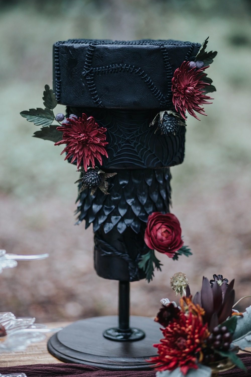 dark romance floating upside down wedding cake