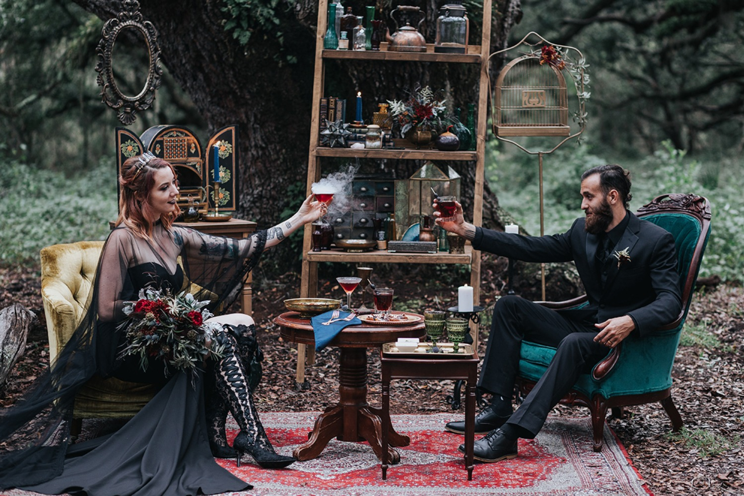 wedding lounge with a dark fantasy vibe
