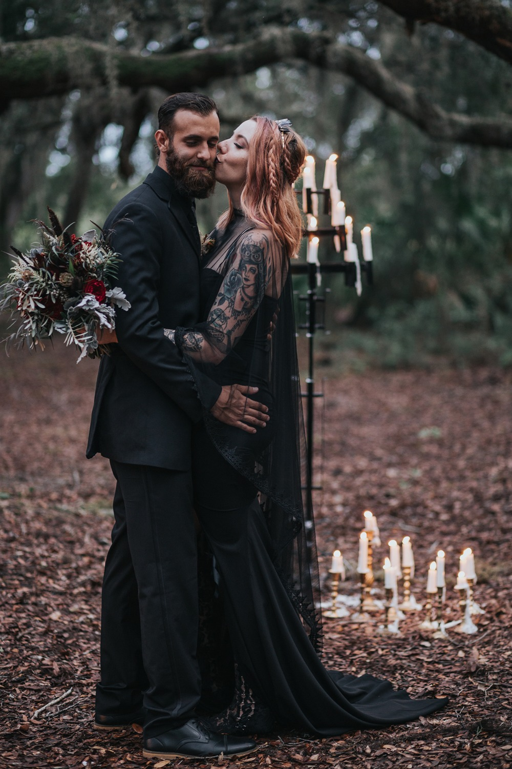 dark romance wedding ceremony