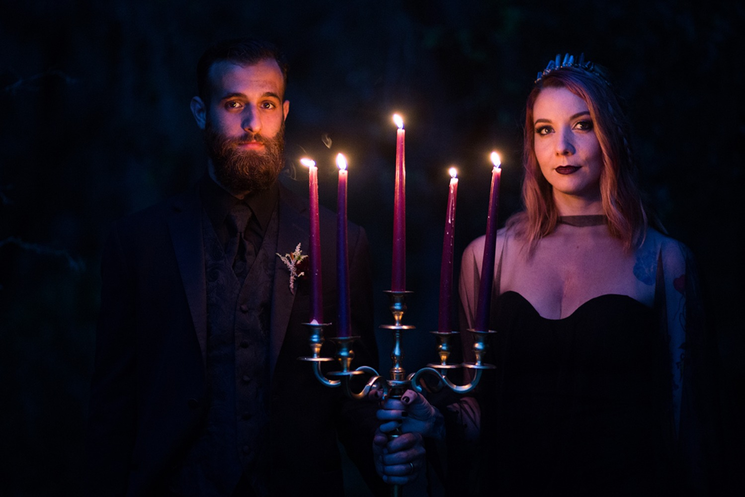 dramatic wedding photos with candles