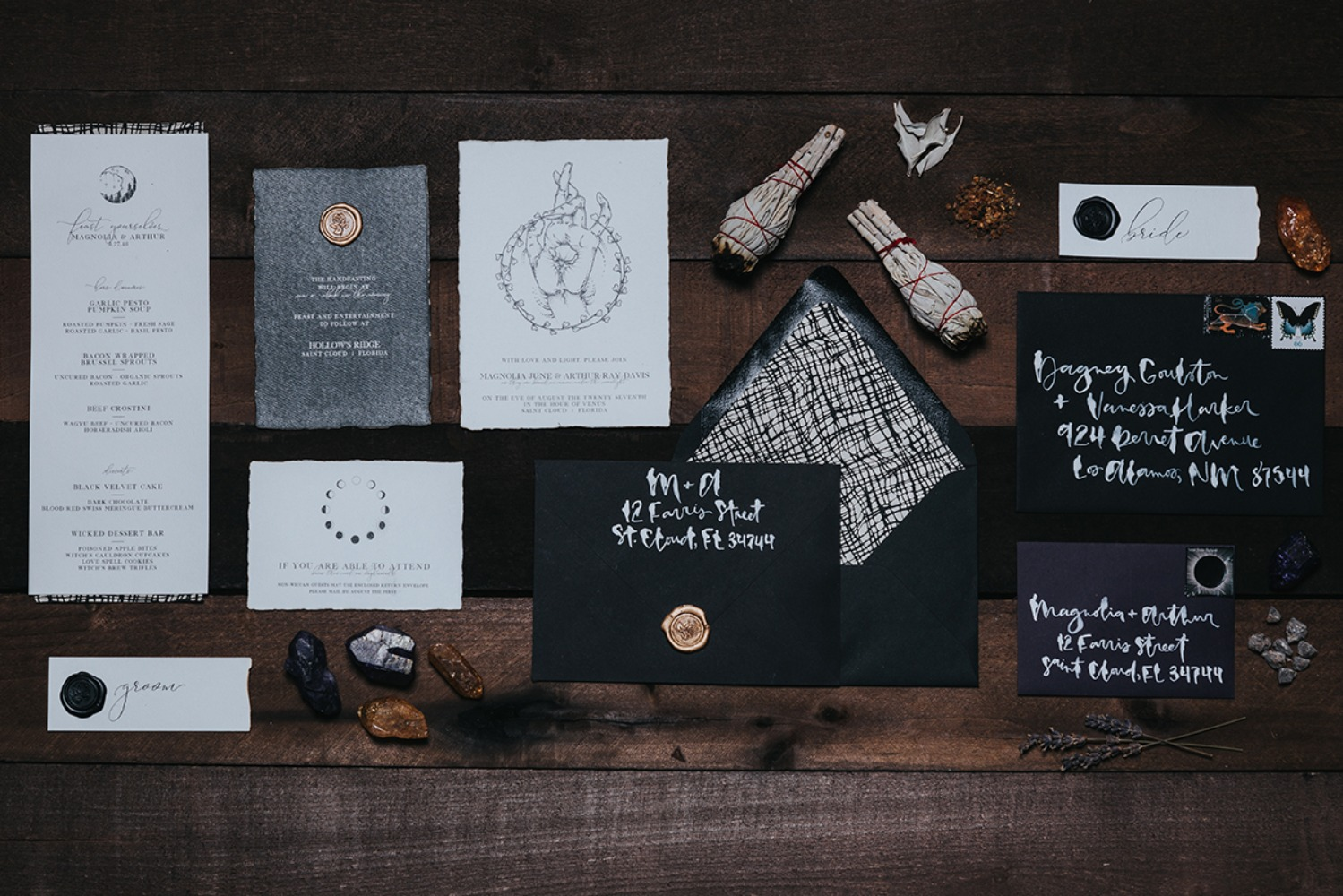 wiccan inspired wedding invitation suite
