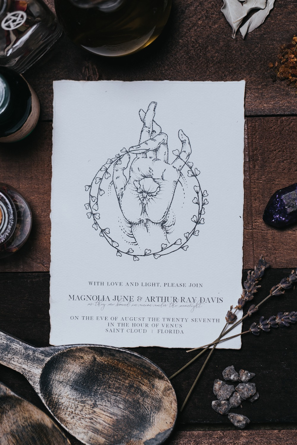 wedding invitation with a wiccan vibe