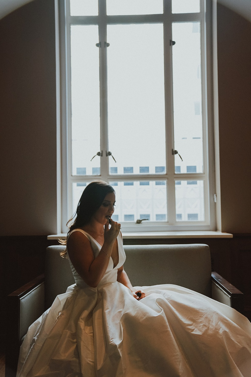 Real Astrid & Mercedes Bride Victoria + Brent's Modern Dallas Rooftop Wedding   Gown: Joy (from our Astrid & Mercedes line