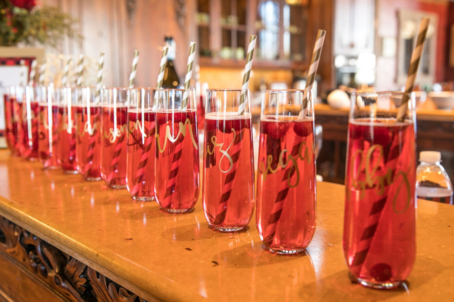 Cranberry mimosas for a bachelorette weekend