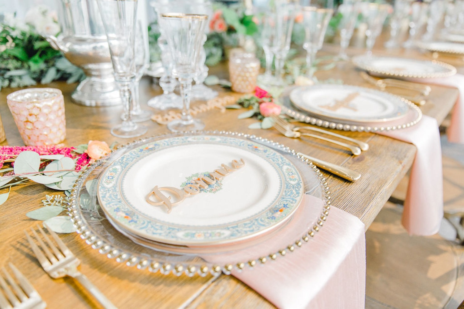 Gold and blush table setting for a wedding