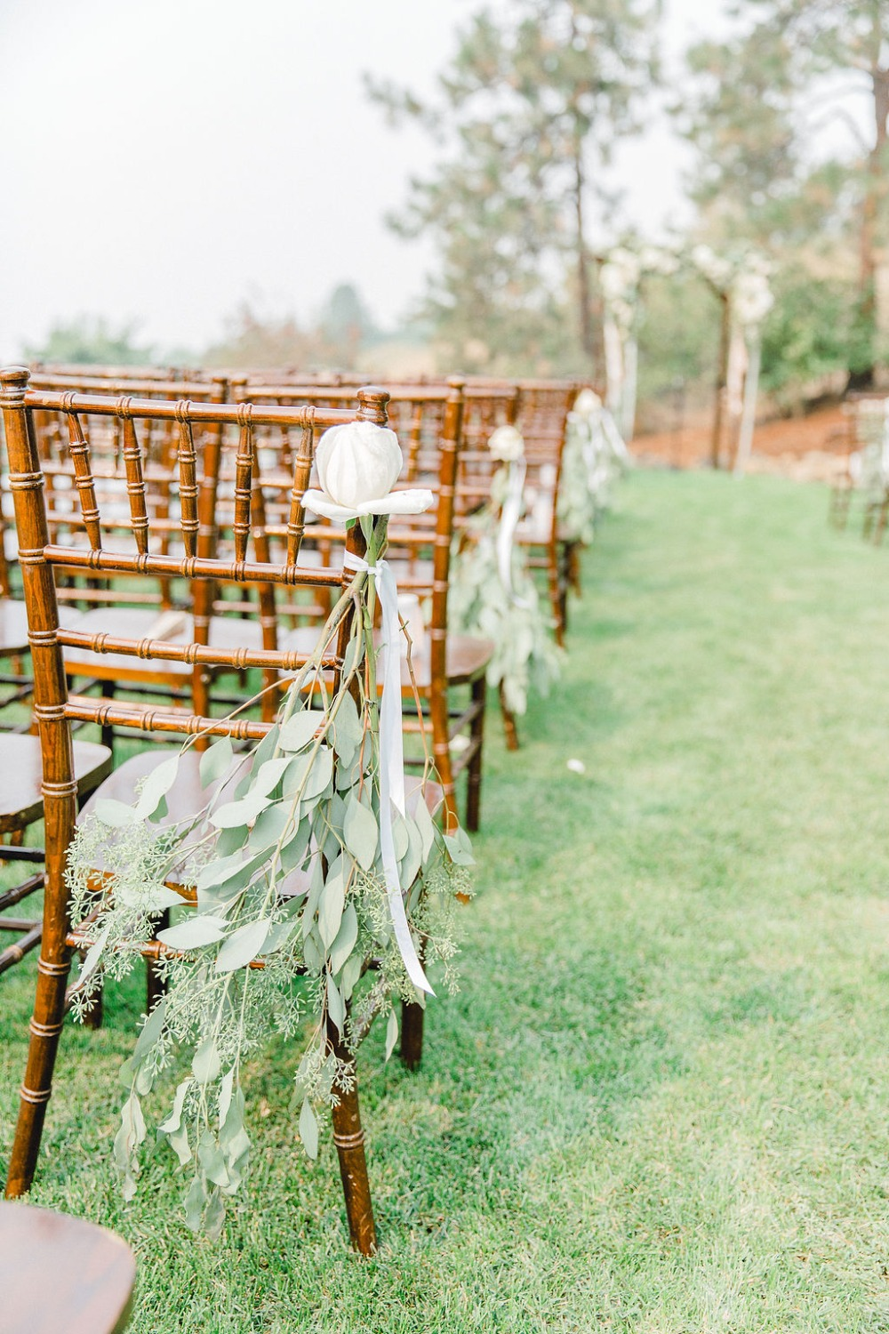 Simple ceremony chair decor