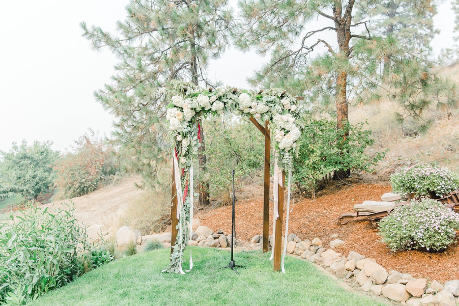 Rose arbor with ribbons