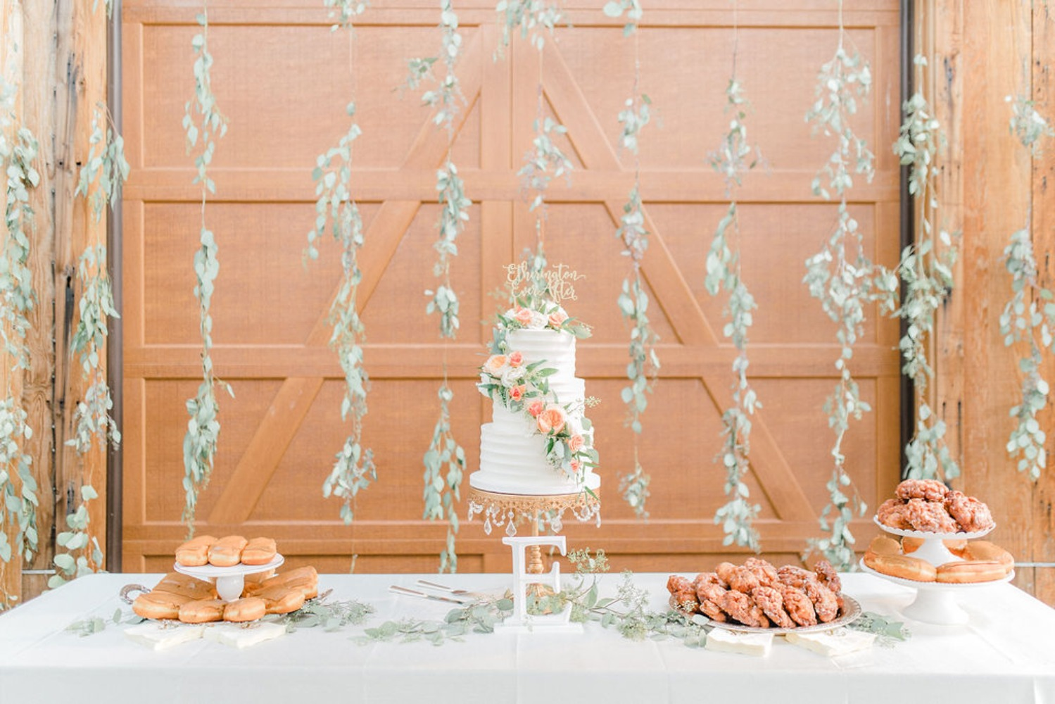 Cake and donut table for a wedding
