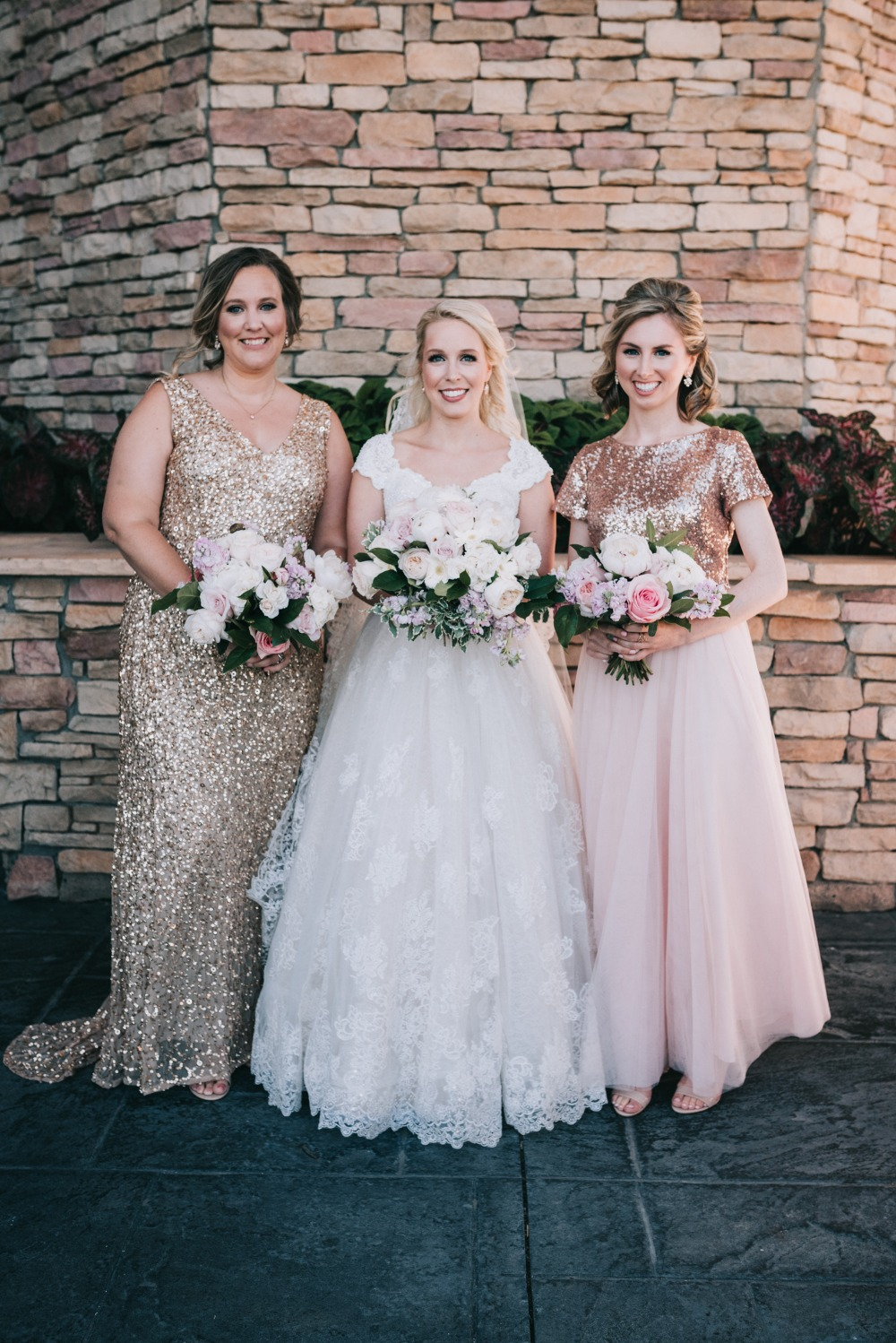 bridesmaids in pink and gold sequins