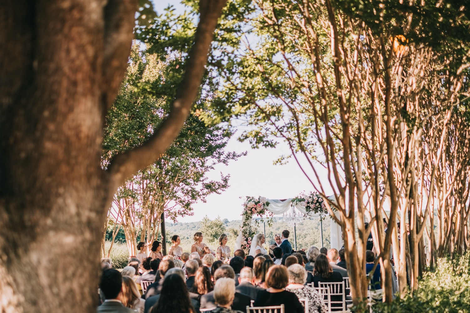 wedding ceremony among the trees