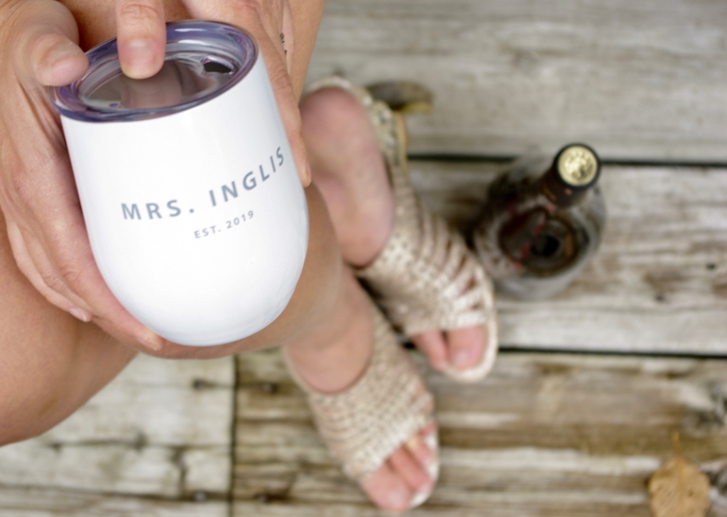 Love this personalized wine tumbler featuring your MRS designation! Available on its own or as a set for your Mr.