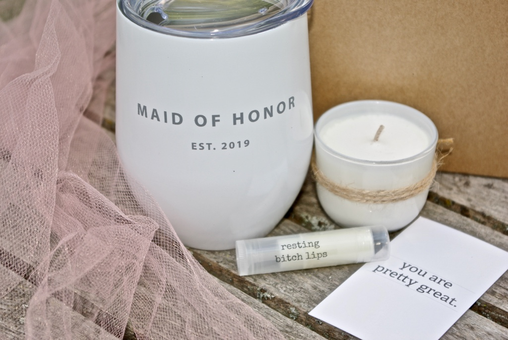 Give your maid of honor something special...that they can pour their wine in to as well! Gift set available from inkt and co.