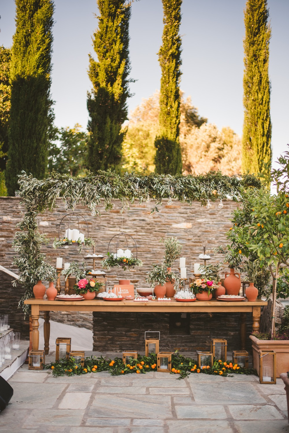 rustic Greek inspired dessert table