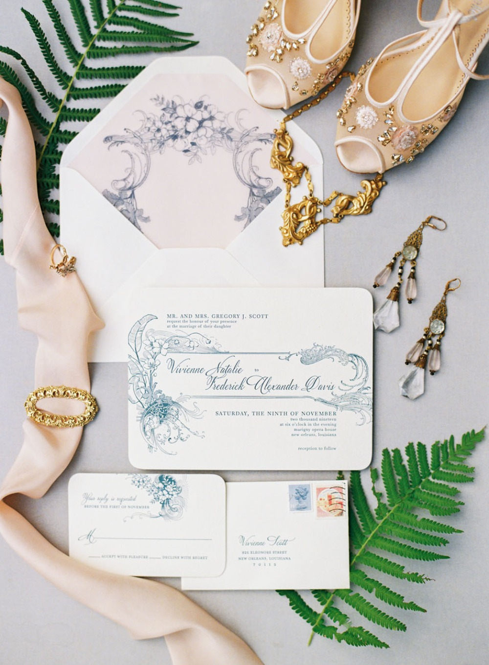Vintage glam invitation suite