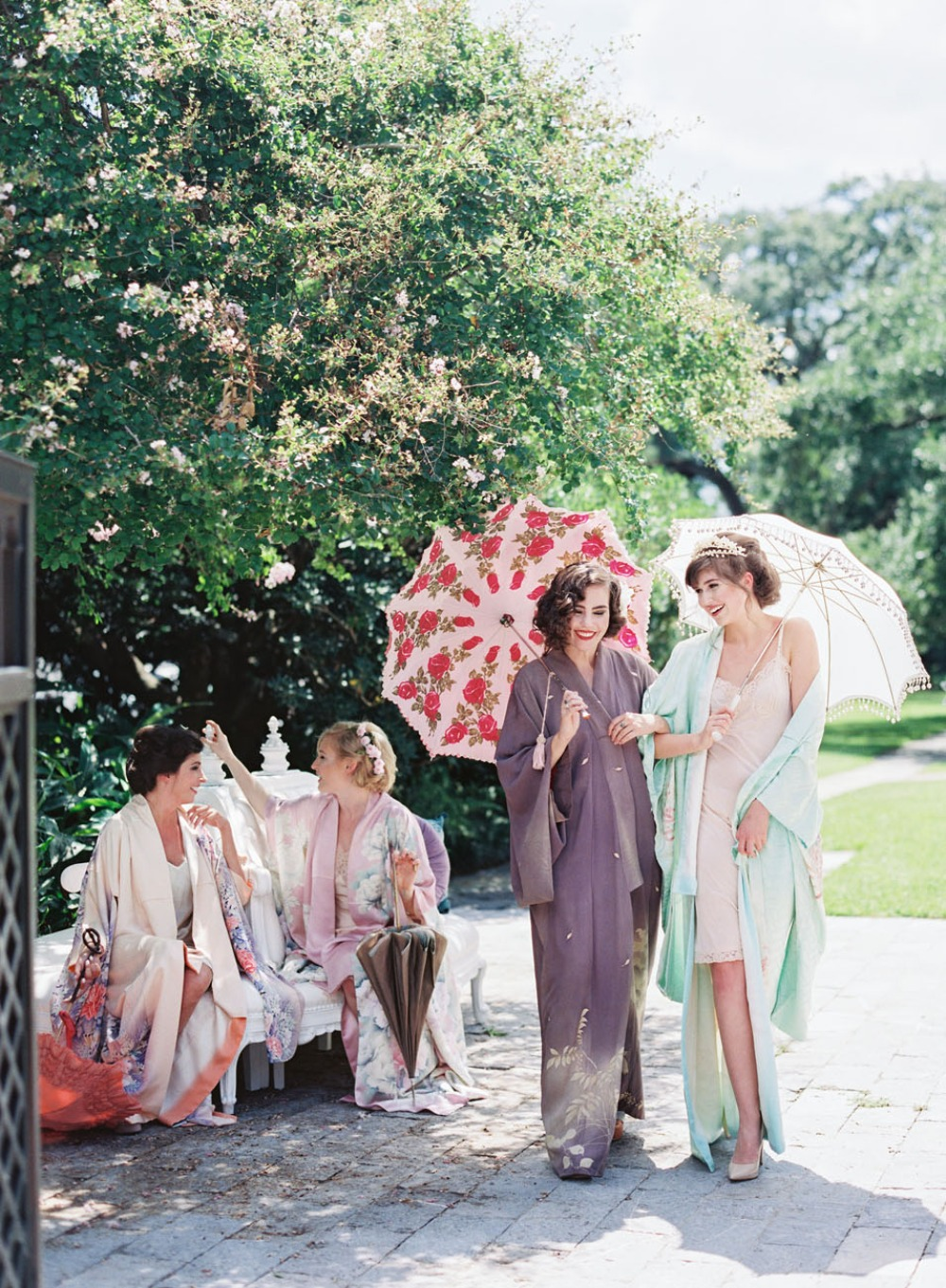Silk robes and umbrellas