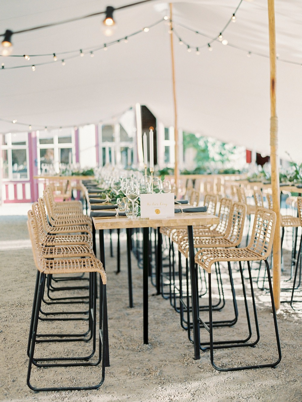 Tall tables for a wedding reception
