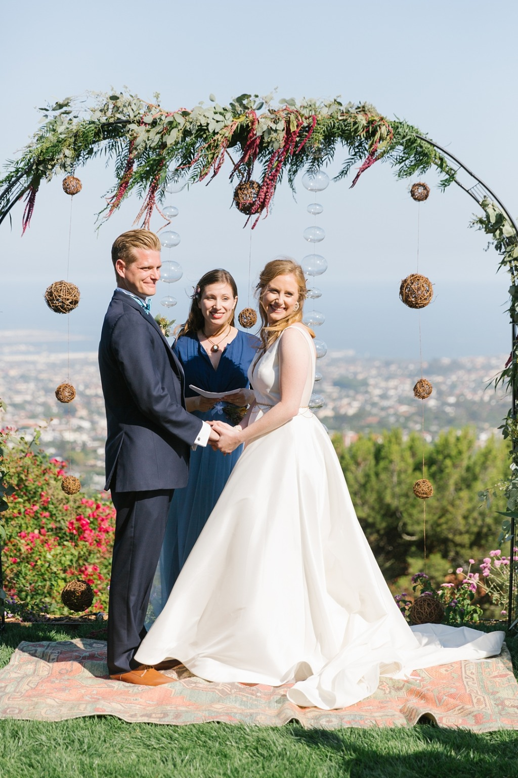 This ceremony arch was designed by the mother of the bride! A stunning boho ceremony at a private residence in Palos Verdes! See more